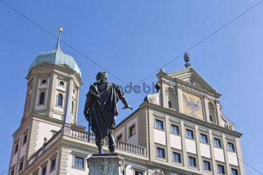 Fountain sculpture, Augustusbrunnen fountain in front of the town hall, Rathausplatz square, Augsburg, Bavaria, Germany, Europe