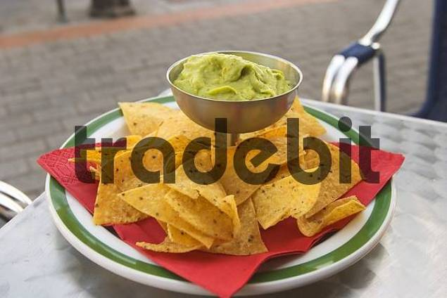 Guacamole with Taco chips - mexican meal - La Gomera