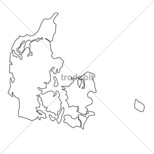 Outline, map of Denmark