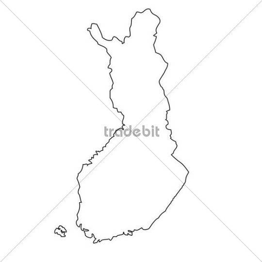 Outline, map of Finland