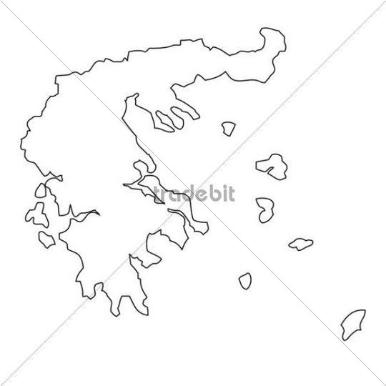 Outline, map of Greece