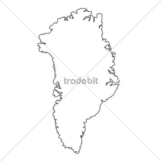 Outline, map of Greenland