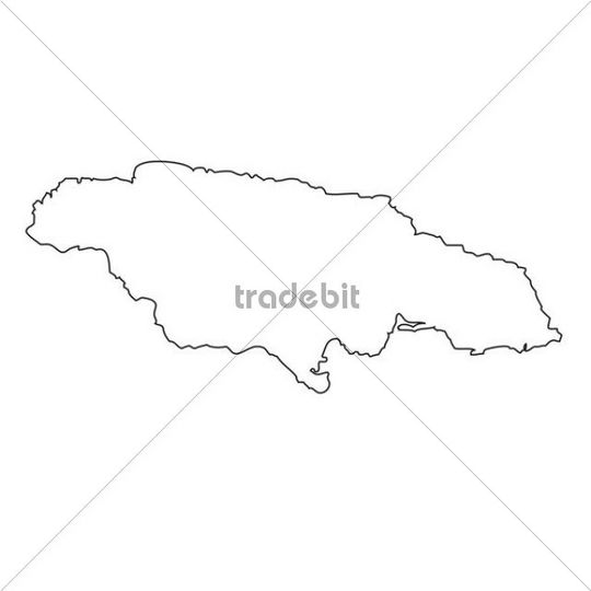 Outline, map of Jamaica