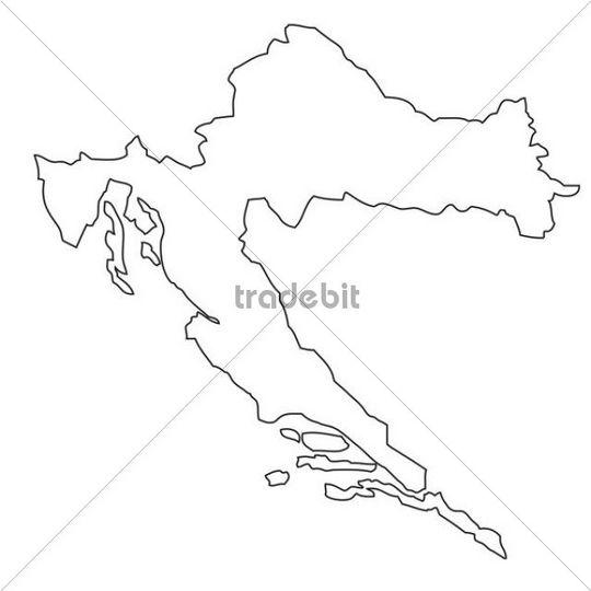 Outline, map of Croatia
