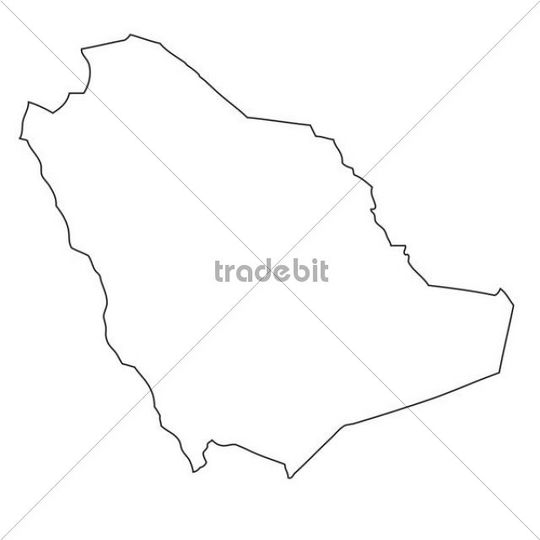 Saudi Arabia Map Outline Outline Map of Saudi Arabia