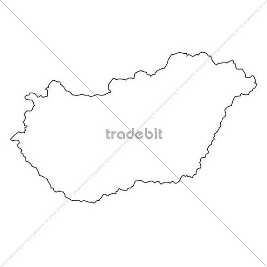 Outline, map of Hungary
