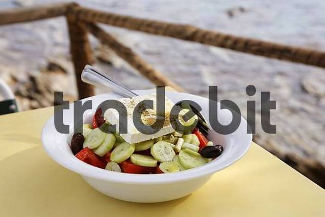 greek salad with feta cheese, Crete, Greece