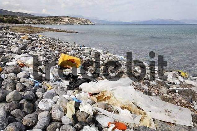 polluted beach in Pachia Ammos, Gulf of Mirabello Mirambello, Eastern Crete, Greece