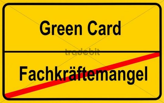 City limits sign, symbolic image, ending the lack of a specialised workforce by Green Cards for foreign skilled workers