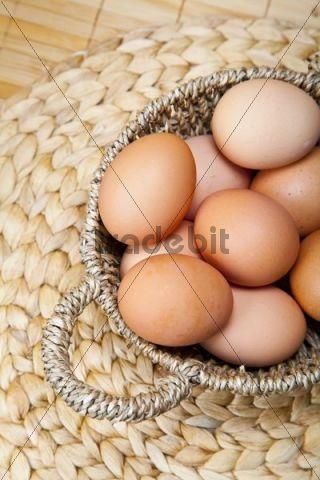 Organic eggs in a basket