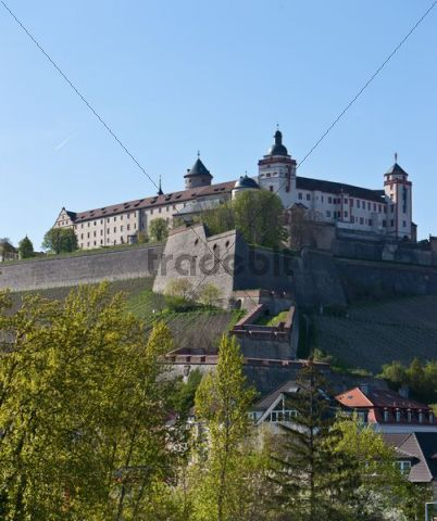 View of Fortress Marienberg, Wuerzburg, Franconia, Bavaria, Germany, Europe