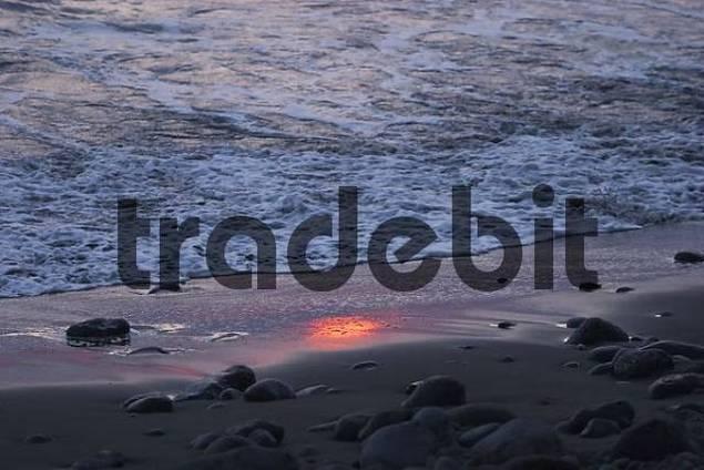 sunset at beach Playa de Valle Gran Rey - La Gomera