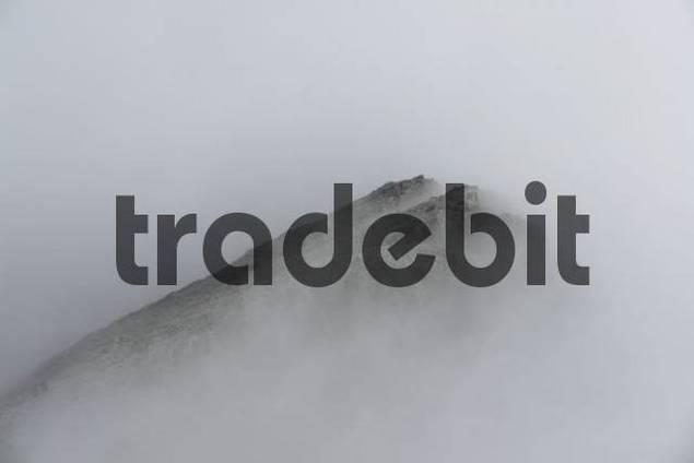 Foggy view from Watzmann/Hocheck, Bavaria, Germany