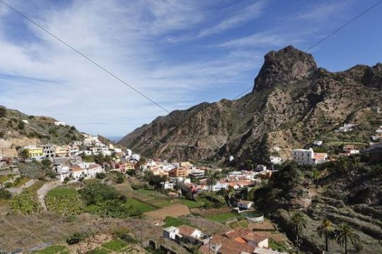 Vallehermoso with Roque Cano Mountain, La Gomera, Canary Islands, Spain, Europe