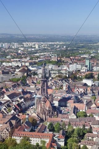 Old town and Cathedral of Freiburg im Breisgau, Baden-Wuerttemberg, Germany, Europe