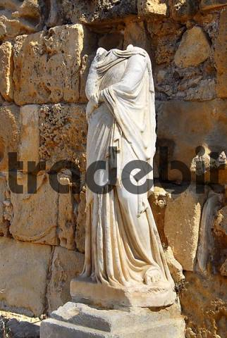Ancient statue headless archaeological site Salamis North Cyprus