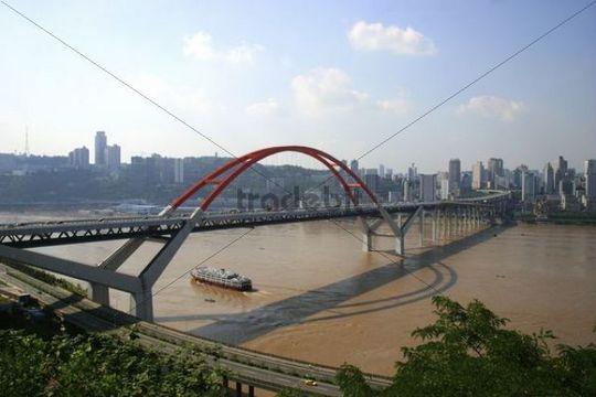 Cityscape, bridge, Changjiang river, Chongqing, China, Asia