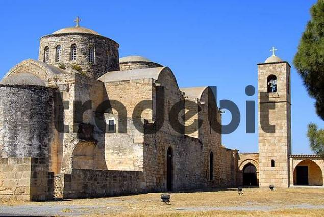 Apostle Apostolos Barnabas monastery with clock tower near Salamis North Cyprus
