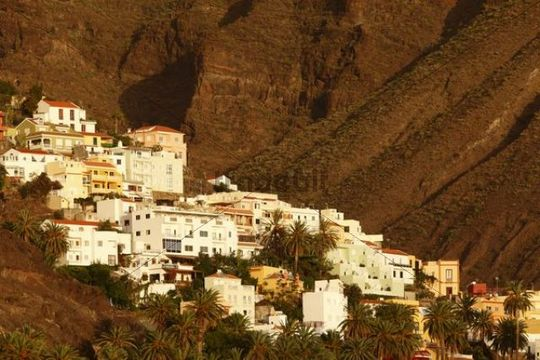 La Calera in the evening light, Valle Gran Rey, La Gomera island, Canary Islands, Spain, Europe