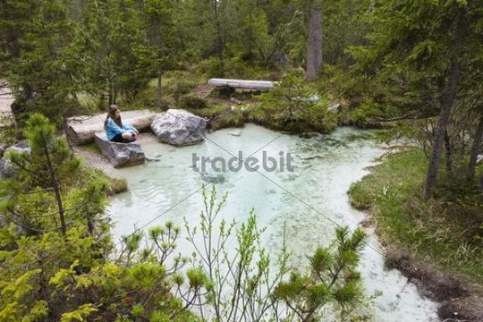 At the source of the Isar River, biking tour, Hinterautal, Karwendel Mountains, Alps, Tyrol, Austria, Europe