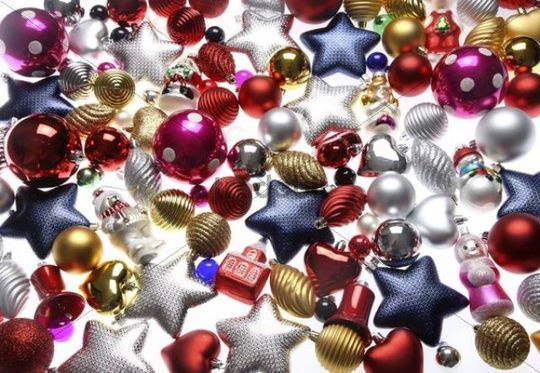 Christmas decorations, various Christmas tree balls, baubles