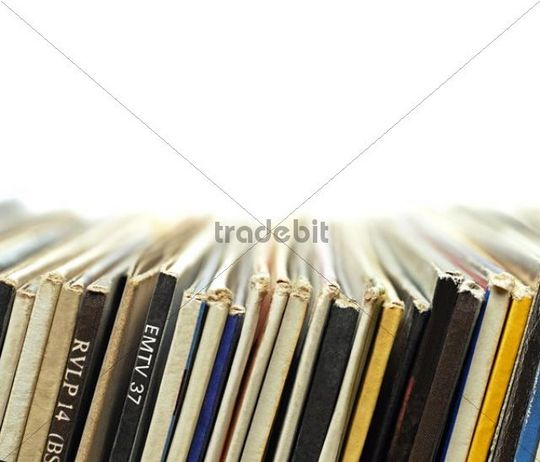 Record collection, close-up