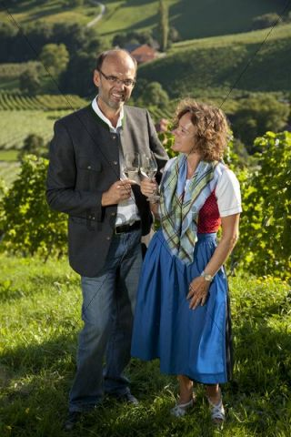 Married couple clinking their wine glasses, Southern Styria, Styria, Austria, Europe
