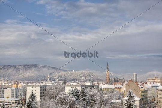 Snow-covered Graz, Styria, Austria, Europe