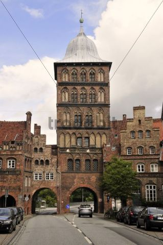 Burgtor gate tower, Luebeck, Schleswig-Holstein, Germany, Europe
