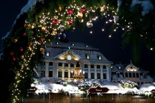 Christmas market by night in Coburg, Bavaria, Germany, Europe