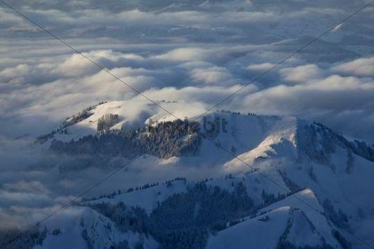 Evening mood in winter on Saentis Mountain in Appenzellerland, Swiss Alps, Switzerland, Europe