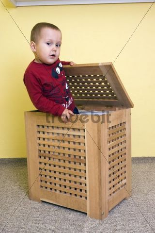 Boy, 2 years, in a box