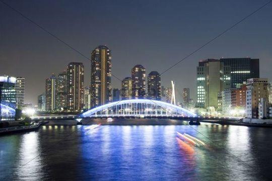 Skyline at night, Sumida River, Tsukuda district, Tokyo, Japan, Asia
