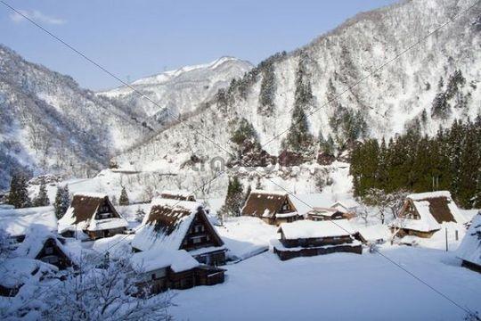 Village, traditional housing, winter, in Shirakawa-go, Gifu, Japan, Asia