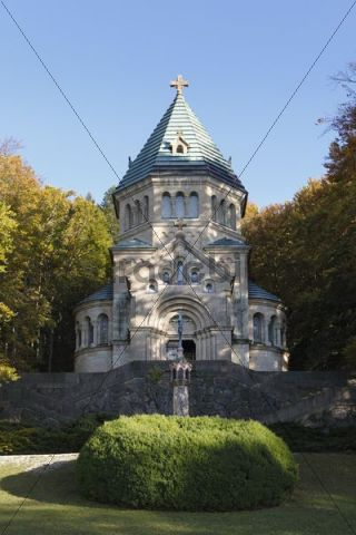 Byzantine-Romanesque votive chapel, Memorial Chapel St. Ludwig to commemorate King Ludwig II near Berg on Lake Starnberger See, Fuenfseenland area, Upper Bavaria, Bavaria, Germany, Europe