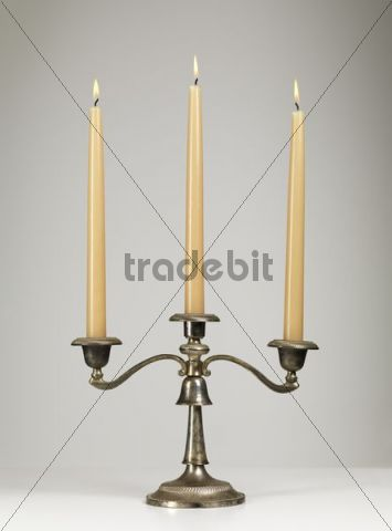 Antique silver triple candle holder, candelabra