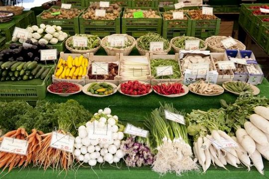 Market stall, vegetable stand, nicely decorated various vegetables, carrots, turnips, onion, green radish, peppers, Viktualienmarkt market, Munich, Upper Bavaria, Bavaria, Germany, Europe