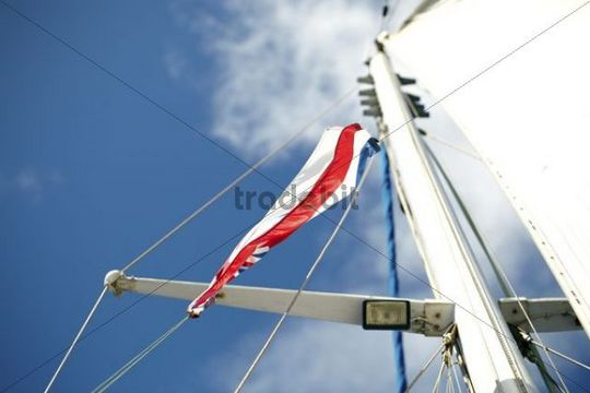 Mast, flag, sailboat, Maui, Hawaii, USA