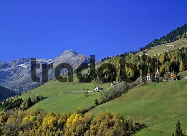 view to the village of St Johann im Walde, Weissenbach, Penser valley, South Tyrol, Italy