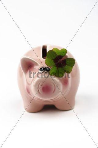 Piggy bank with four-leaf clover, lucky charm