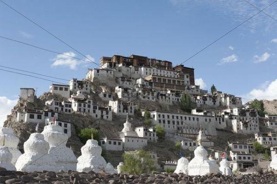 Tibetan Buddhism, monastery on a hill, many white stupas, Thikse Monastery near Leh, Ladakh region, Jammu and Kashmir, India, South Asia, Asia