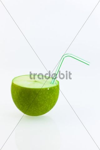 Apple with a straw in it like a soft drink
