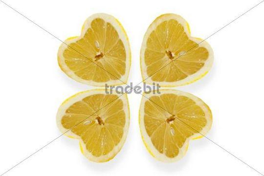 Heart-shaped lemons arranged like a cloverleaf