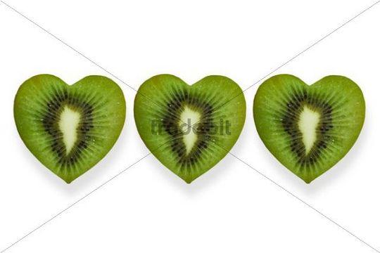 Heart-shaped slices of kiwi fruit