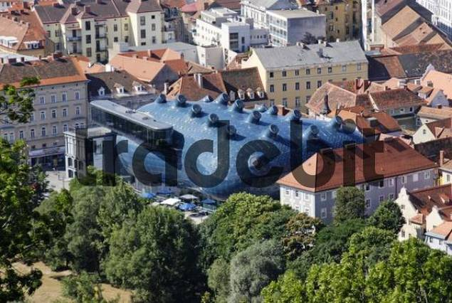 from the Schlossberg castle hill to the Kunsthaus art gallery Graz capital of Styria Austria