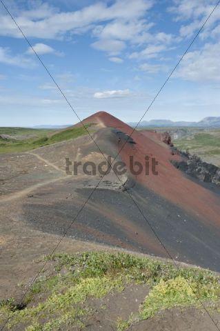 Red Mountain, Rauðhólar near Hljóðaklettur, Joekulsárgljúfur National Park now Vatnajoekull National Park, Ásbyrgi, Iceland, Scandinavia, Northern Europe