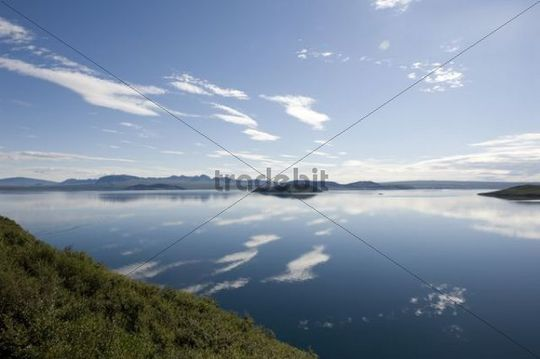 Clouds reflected in the Þingvallavatn lake, Thingvallavatn, Golden Circle, Iceland, Scandinavia, Northern Europe, Europe