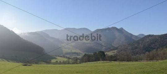 View from Rehgras towards Furth, hiking trail on Hocheck Mountain, Triestingtal, Lower Austria, Austria, Europe