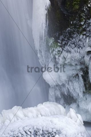 Icy waterfall, Triberg Waterfall, winter, Black Forest, Baden-Wuerttemberg, Germany, Europe