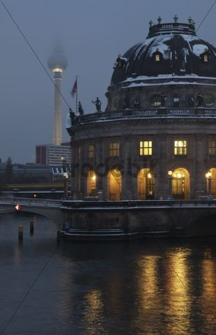 Bode Museum and TV Tower at dusk, Berlin, Germany, Europe